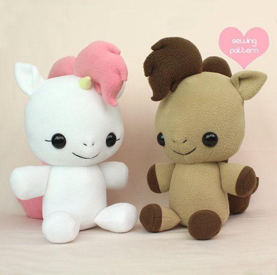 PDF stuffed animal sewing pattern - Pony Horse Unicorn Pegasus - cute soft toy…