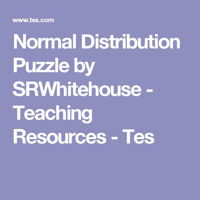 Normal Distribution Puzzle by SRWhitehouse - Teaching Resources - Tes