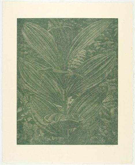 Artwork by Franz Gertsch, Gelber Enzian (Olive), Made of Colour woodcut on Heizaburo Iwano Kumohadamashi Japan paper