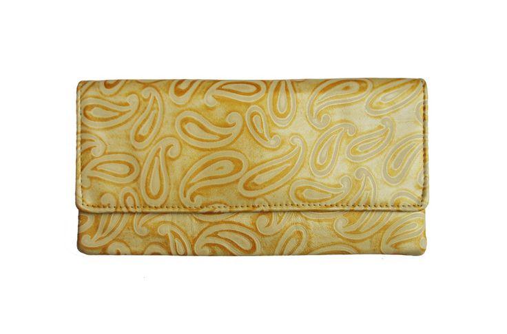 Kopertówka+skórzana+Arabeska+żółta+w+Etui-vintage+na+DaWanda.com