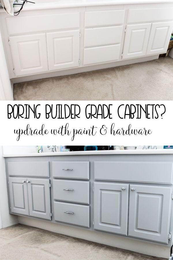 Upgrade Your Boring Builder Grade Bathroom Cabinets Painting Bathroom Cabinets Diy Bathroom Bathroom Makeover
