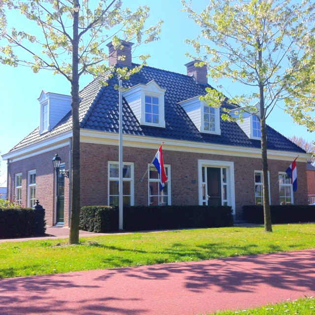 Newly built Dutch old style house in Vijfhuizen, The Netherlands