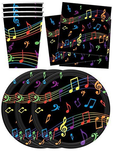 Colorful Music Notes Party Supplies Set Plates Napkins Cups Tableware Kit for 16 by Birthday Galore