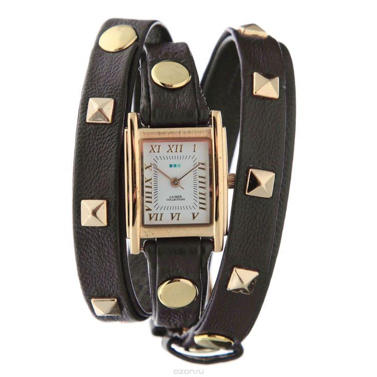Часы наручные женские La Mer Collections Pyramid Stud Chocolate. LMLW1010J