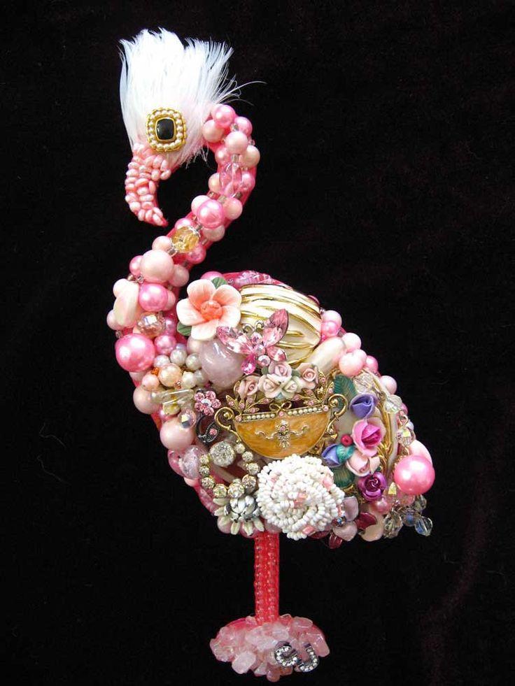flamingo jewels | Vintage Jewelry Collage Sculpture Coco Pink Flamingo Decorative Art