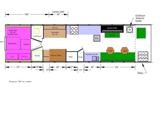lots of skoolie floor plans storage bedroom bathroom