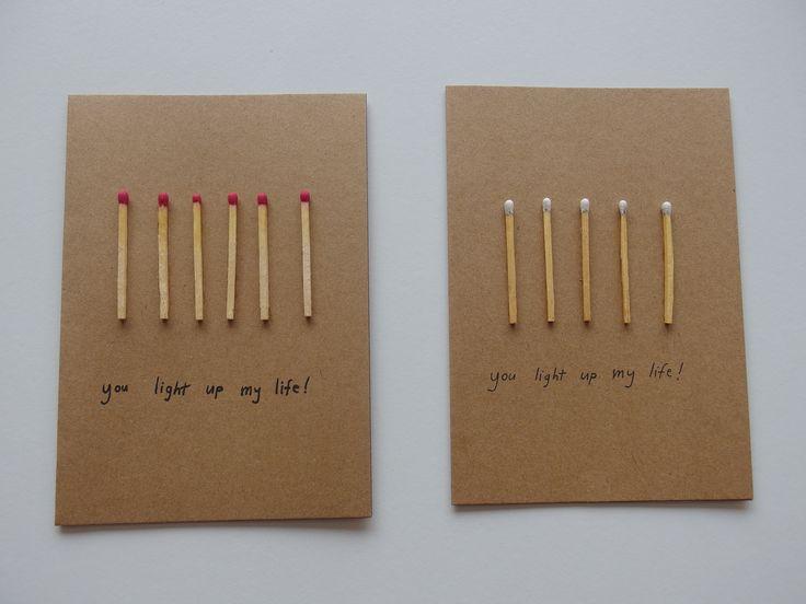 DIY-kaartjes, eenvoudig te maken met lucifers, een zwart stiftje en knutsellijm (doorzichtig).