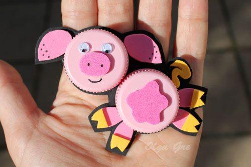 Поделки с детьми. Поделки из крышек своими руками: Свинка.