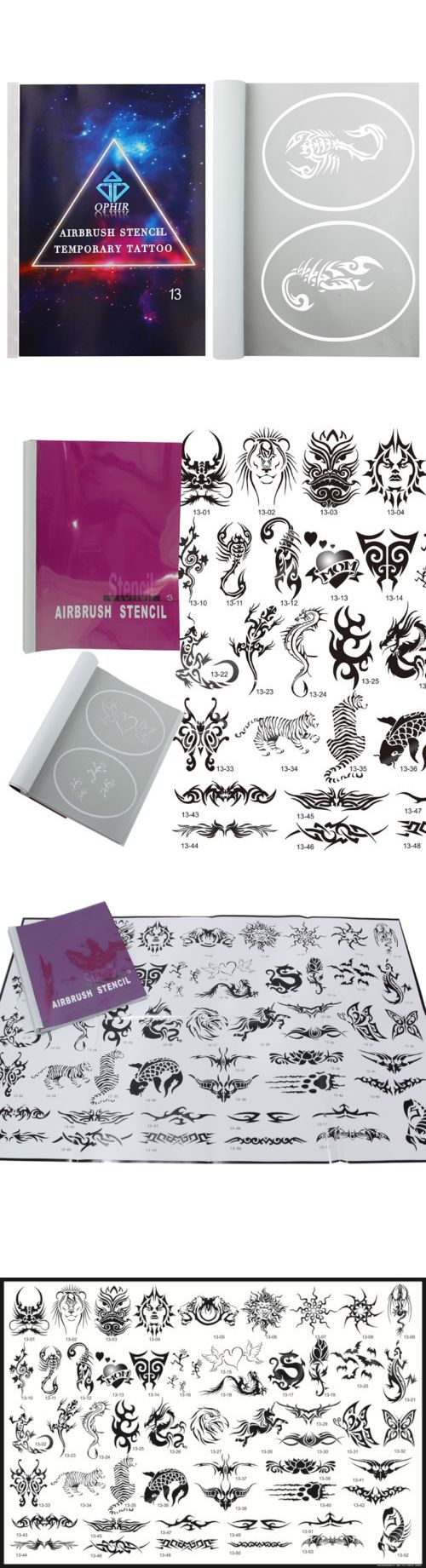 Stencils and Accessories: Ophir 52 Patterns Airbrush Temporary Tattoo Stencils Set For Airbrushing Art Set BUY IT NOW ONLY: $35.99