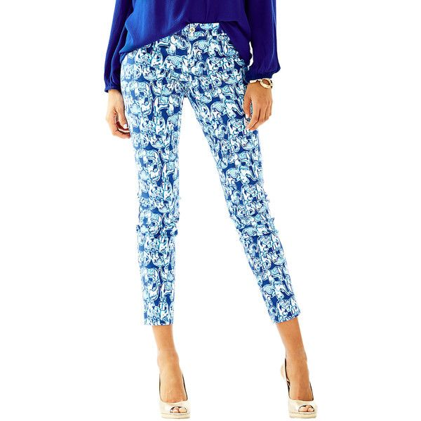 Lilly Pulitzer Kelly Ankle Length Skinny Pant ($148) ❤ liked on Polyvore featuring pants, capris, bomber blue get trunky, white skinny trousers, skinny pants, skinny ankle pants, blue skinny pants and white pants