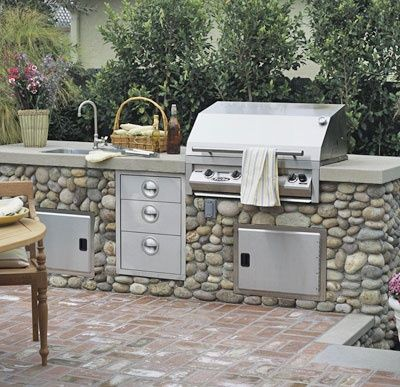 backyards: Kitchens Design, Rivers Rocks, Dream House, Sinks, Outdoor Kitchens, Drawers, Country Life, Stainless Steel, Backyard Kitchens