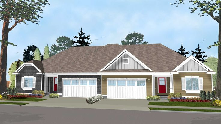 Easy-to-Build Duplex House Plan - 62562DJ | 1st Floor Master Suite, CAD Available, PDF | Architectural Designs