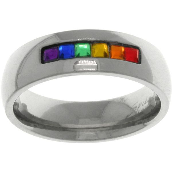 Carolina Glamour Collection Stainless Steel Rainbow Cubic Zirconia Gay... ($20) ❤ liked on Polyvore featuring jewelry, rings, rainbow, stainless steel, channel set ring, stainless steel cz rings, rainbow ring, wedding band rings and channel-set band ring