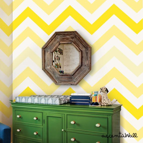 Chevron Yellow Peel & Stick Fabric Wallpaper Repositionable