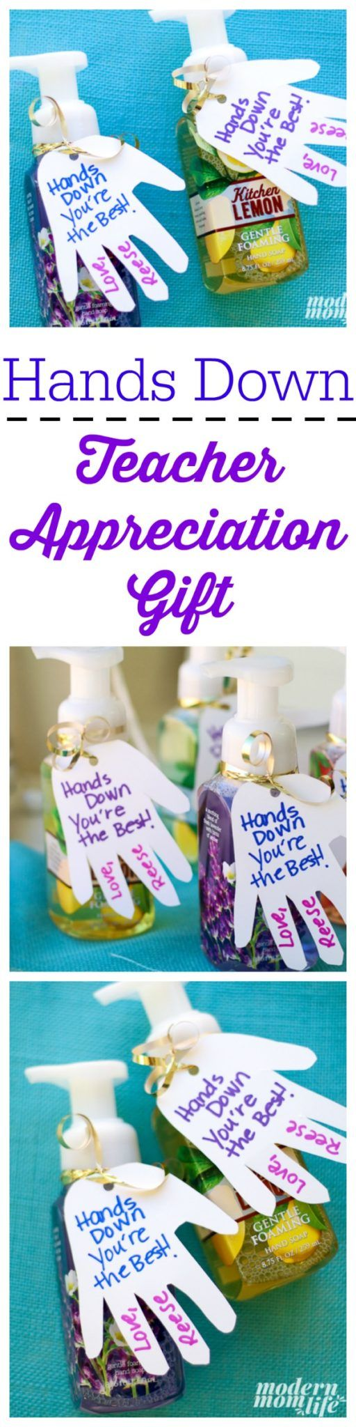 This Hands Down Teacher Appreciation Gift is simple and easy to make. Makes the perfect homemade teacher gift!  via @amodernmomlife