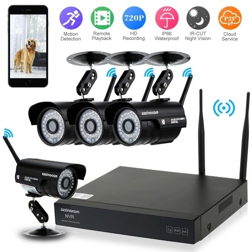 179.99$  Watch now - http://aief9.worlditems.win/all/product.php?id=S1296EU - szsinocam?� 4 Channel HD 720P Wireless WiFi NVR Network Video Recorder + 4pcs 720P Megapixels WiFi IP Camera support Plug and Play Weatherproof IR Night View Phone Control Motion Detection Remote Playback for CCTV Security Surveillance System