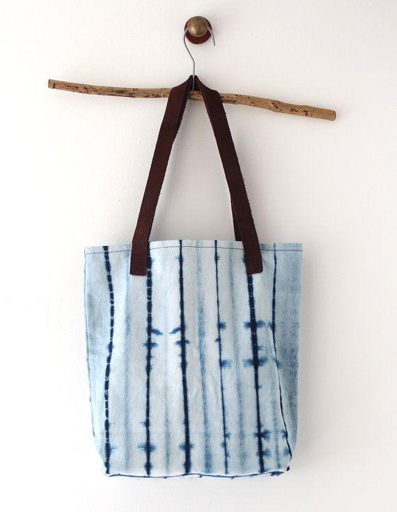 Natural Indigo dye handbag with leather handles Shibori by bySanz