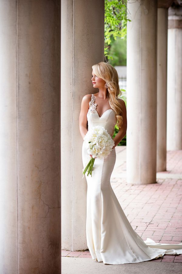 Glam Ivory Fishtail Wedding Dress with a Peony Bouquet   Hauntingly Beautiful Vintage Bridal Portraits   Jamie Fender, Photographer