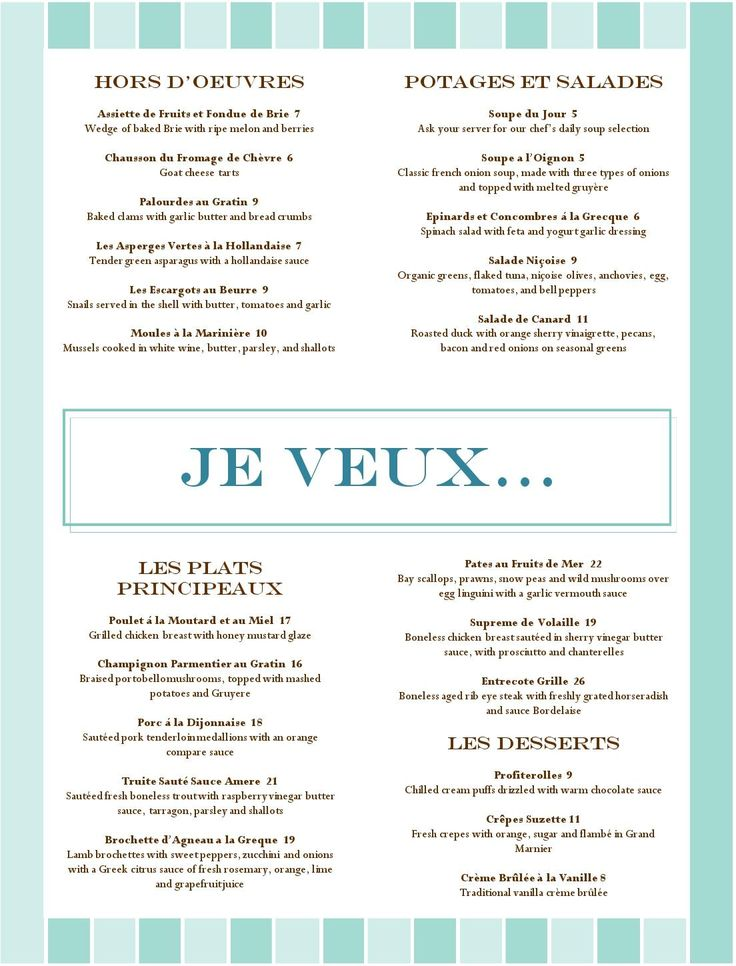 French Cafe Menu Ideas 2018 Printable Menu and Chart