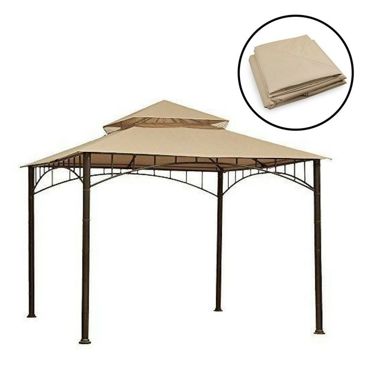 Gazebo Replacement Canopy Patio Outdoor Garden Cover Yard Sunshade Beige #Unbranded