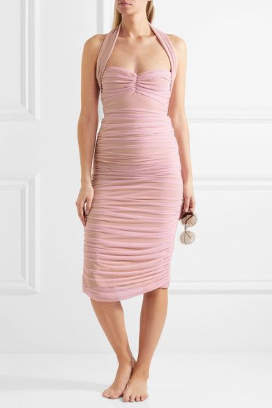Norma Kamali - Ruched Stretch-tulle Skirt - Pastel pink - medium