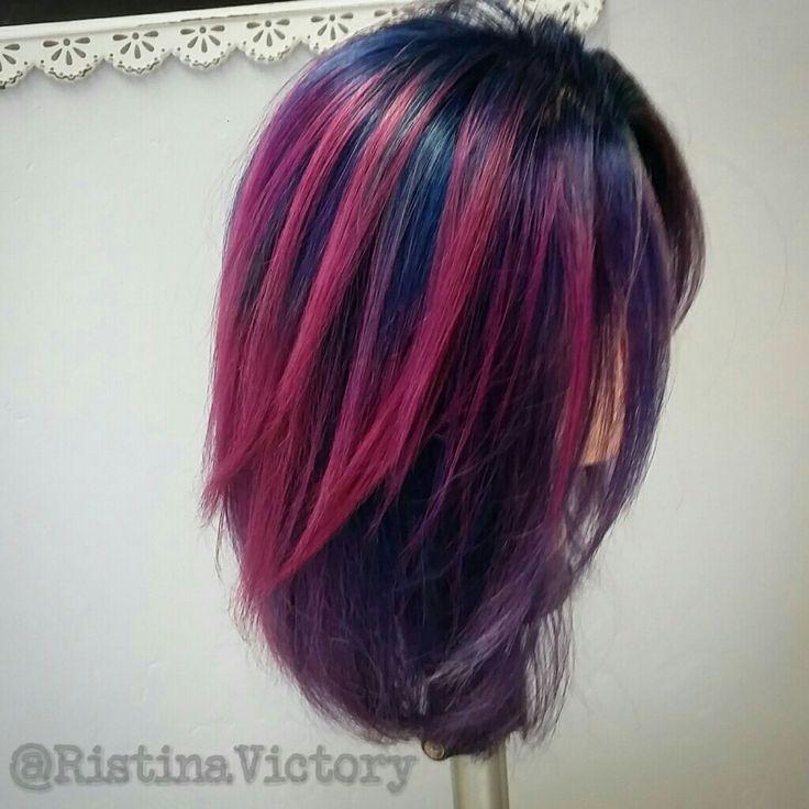 @ristina_victory Nebula. Punk, blue, purple hair w/ Pulp Riot color on foll head.