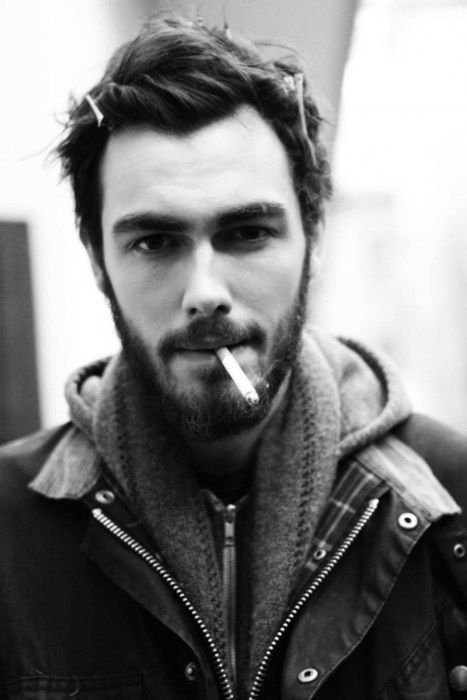 Beard, short hair, hoodie, cigarette