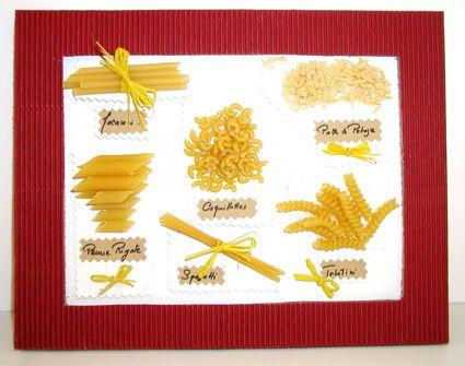 Tableau avec des pâtes alimentaires