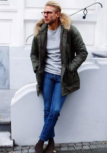 【冬】モッズコート×ジーンズのミリタリーカジュアルコーデ(メンズ) | Italy Web