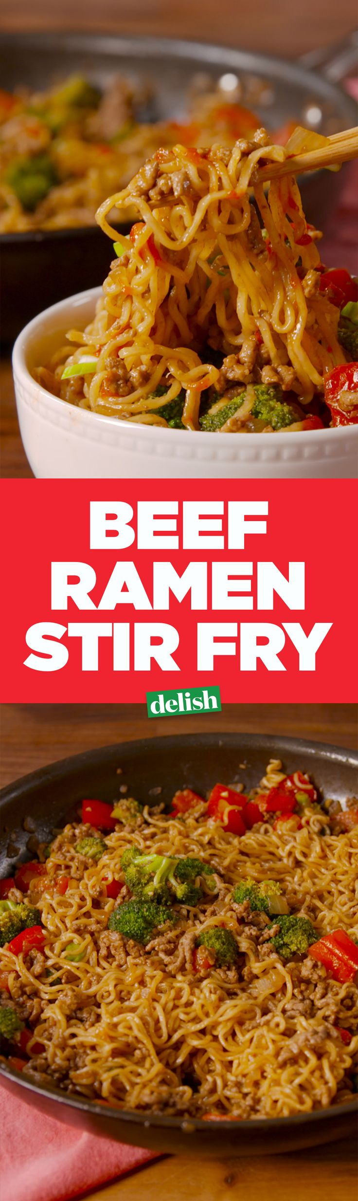 Beef Ramen Stir-Fry will completely change the way you feel about instant ramen. Get the recipe on Delish.com.