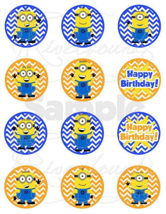 Minion Printable Cupcake Toppers Despicable Me Inspired Treat Or Favor Tags