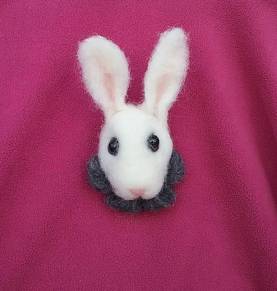 Needle felted white rabbit brooch Alice bunny