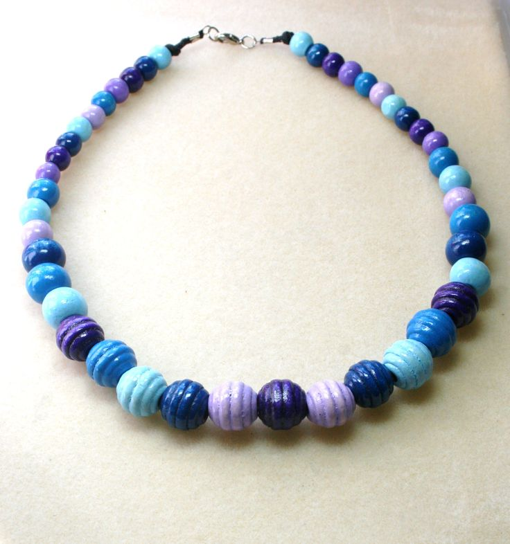 Blue tone wooden beaded necklace  www.facebook.com/Supposejewellery