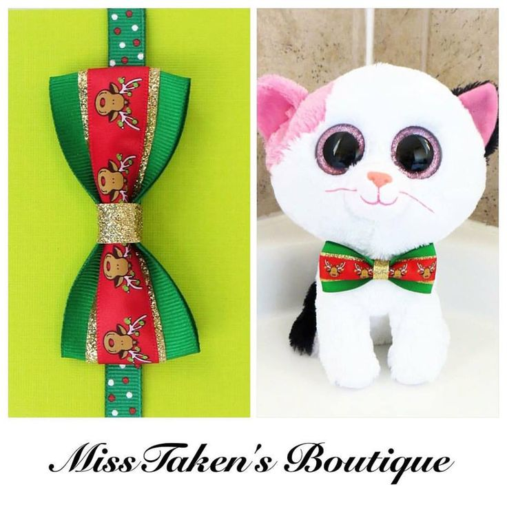"Christmas Reindeer Pet Bow Tie    Adjustable Neck Size: 7.5-13"" (19-33cm)   Bow: 8cm x 4cm   Collar: 1cm Grosgrain Ribbon   Plastic Hook"