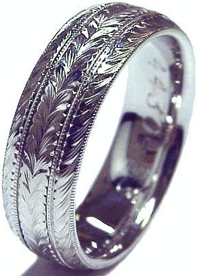 New HAND ENGRAVED Mans 14K White Gold 6mm wide Wedding Band ring Cmfort Fit via Etsy