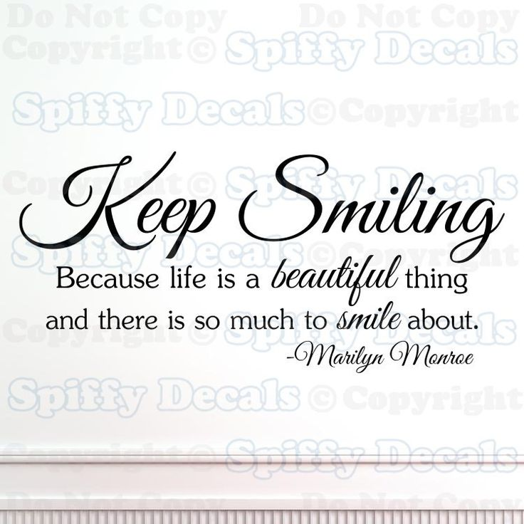 Keep Smiling Marilyn  Monroe wall quote by SpiffyDecals on Etsy, $12.99