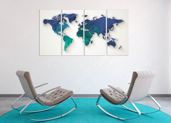 22 best world country maps images on pinterest country maps aquamarine large world map poster canvas set panels aquamarine map aqua word map 5 panels on canvas wall art for home office decor freerunsca Images