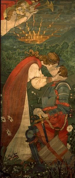 St. George in Armour Being Kissed by Una, by Phoebe Anna Traquair, 1914. Embroidery with silks and gold | National Museums of Scotland