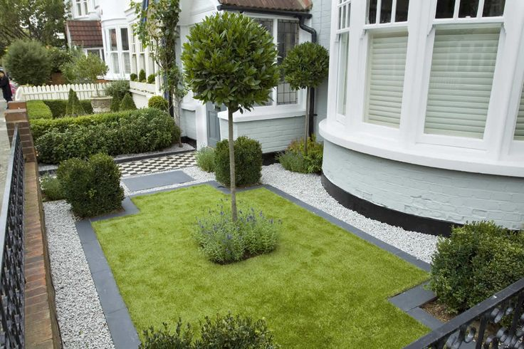 Formal front garden - Victorian, but grass surrounded by white pebble (how do you clean)