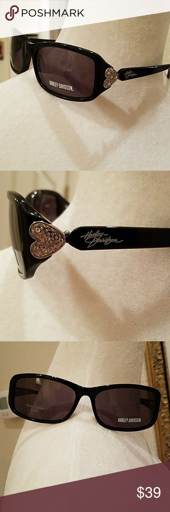 NEW HARLEY DAVIDSON SUNGLASSES BRAND NEW Authentic Harley Davidson Sunglasses.  Prescription Ready, if needed.  Black with Heart.  Comes with lens cleaner case shown.  From a non-smoking home. Harley-Davidson Accessories Sunglasses