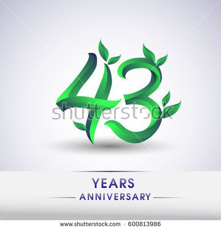 forty three years anniversary celebration logotype with leaf and green colored. 43rd birthday logo on white background.