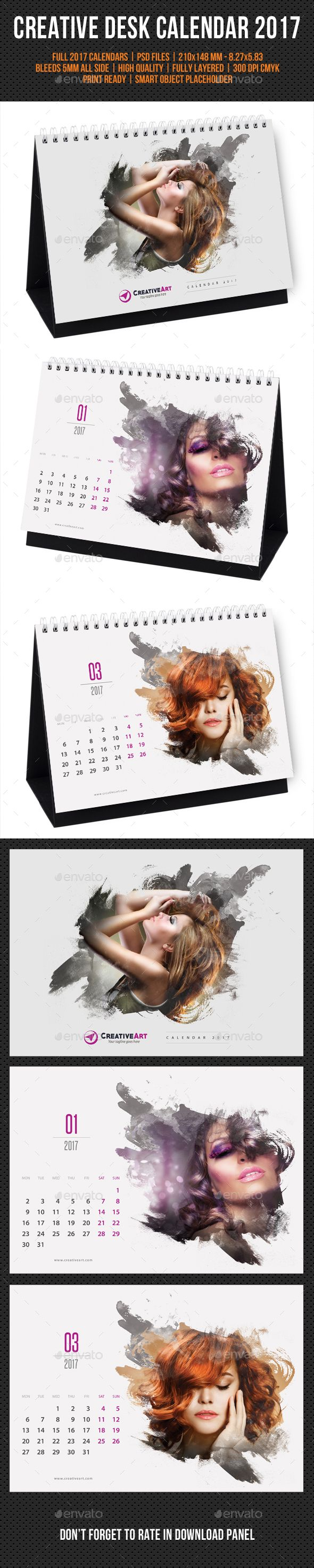 Creative Desk Calendar 2017 Template PSD. Download here: https://graphicriver.net/item/creative-desk-calendar-2017-v18/16957163?ref=ksioks