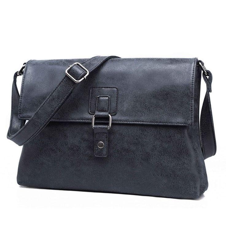 EVONTTE - Vegan Leather Oriel Natural Look Black Satchel Bag