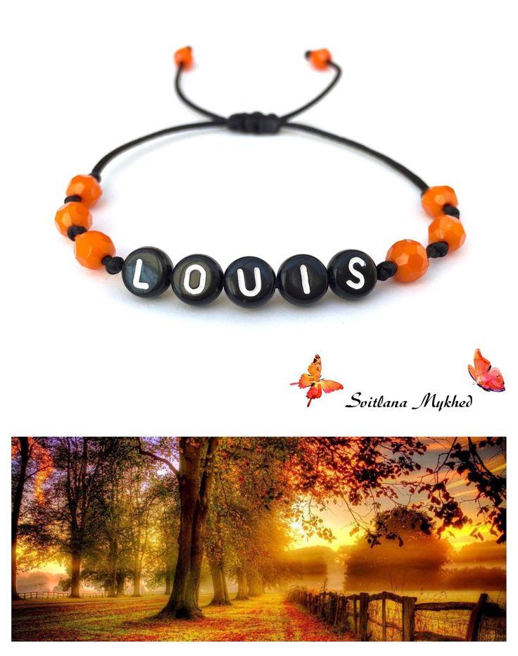 """Bracelet """"Louis"""" . Bracelet avec message ou prenom (personnalisable, réversible) : Bijoux enfants par perles-et-couronnes"""