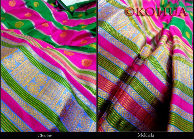 Assam Silk (Mulberry) Mekhela Sador - Multiple Striped Silk from Lal10.com