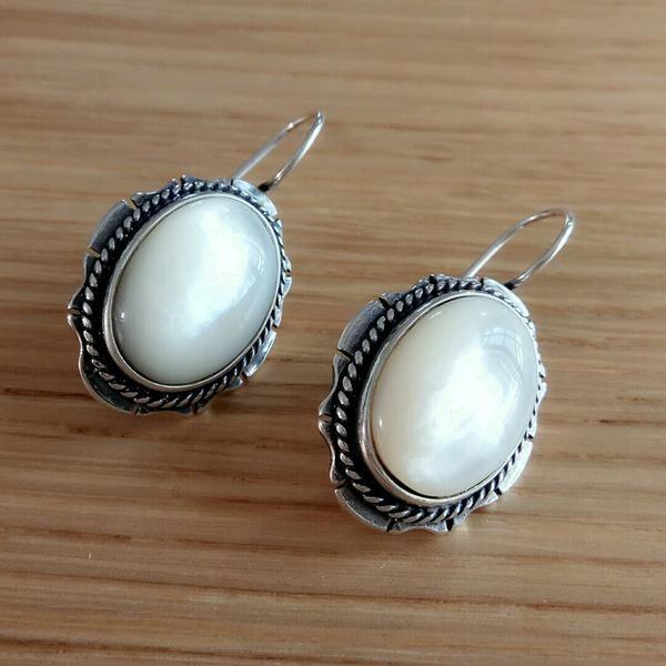 Serene Ivory Silver Earrings