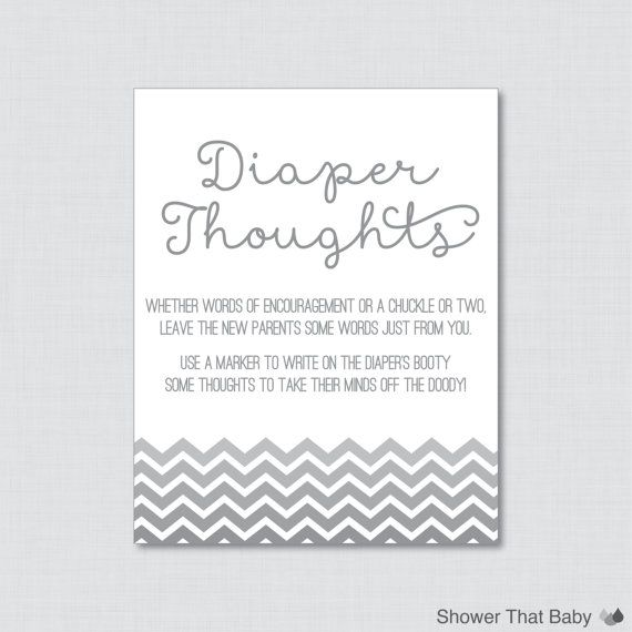 Gray Baby Shower Diaper Thoughts Game   Printable Download   Gray Write On  Diaper Message Game