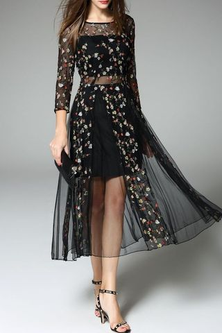 Black Sheer 3/4 Sleeves Embroidered Dress