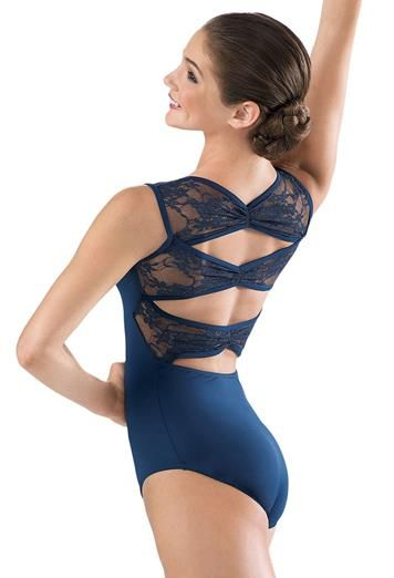 Lace Pinch Back Leotard- beautiful for practice! Comes in blue or black