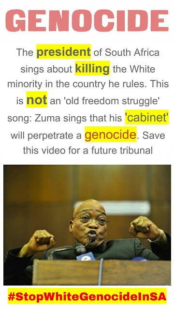 The PRESIDENT of South Africa sings about KILLING the WHITE MINORITY in the country he rules BLACK ON WHITE GENOCIDE IN SOUTH AFRICA #StopWhiteGenocideInSA